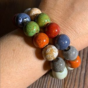 Handmade Clay Painted Multi Color Bracelets